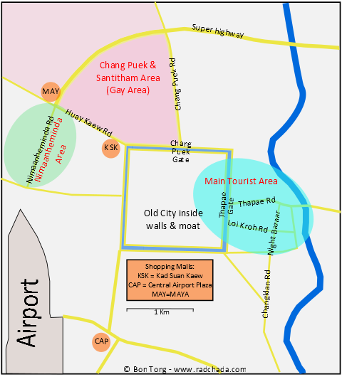 map showing main gay areas for Gay guide to Chiang mai